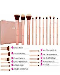 metal rose 11 piece brush set with cosmetic bag