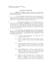 Sample Complaint Affidavit For Estafa Case Criminal Justice