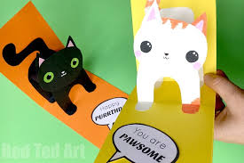 Diy Kids Birthday Card 3d Cat Card Diy Red Ted Arts Blog