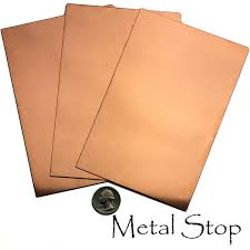 16 gauge copper sheet 3 copper sheets 26 gauge 4 x 6