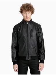 mens calvin klein faux leather zip jacket outerwear black