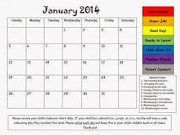 Mrs Bumgardners Kindergarten January Behavior Calendar