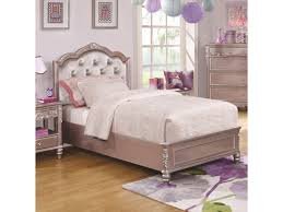 Caroline Twin Size Bed and Diamond Tufted Headboard by Coaster at Dunk & Bright Furniture