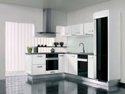 Tiny Corner Area For Mini Kitchen Design With Black And White