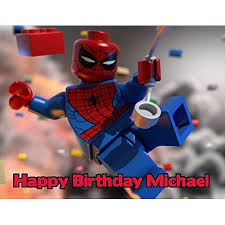 14 Sheet Lego Spiderman Edible Frosting Cake Topper 77731