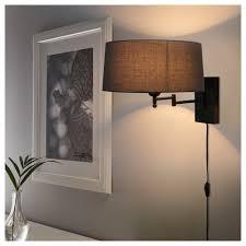 Ikea Wall Lights Bedroom Ikea Halkip Gray Wall Lamp With Swing Arm Led Bulb Plug