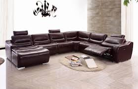 brown leather sectional sofas. Unique Brown 2144 Brown Leather Sectional Sofa WRecliner  Inside Sofas F