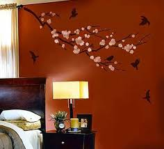 Wall Paint Designs For Living Room Pretty Brown Wall Color Feat Branch And Birds Wall Painting Ideas