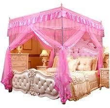 Amazon.com: Mengersi Princess 4 Corners Post Bed Curtain Canopy ...
