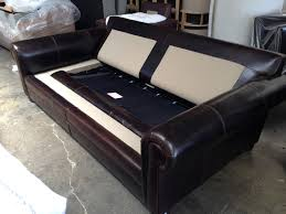 langston leather sofa sleeper in brompton cocoa with cushions off