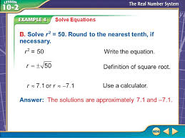 example 4 solve equations b solve r 2 50 round to the nearest