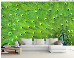 customize wallpaper papel de parede peacock feather decorative painting wall sticker 3d wallpaper free 6987