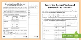 Converting Decimal Tenths And Hundredths To Fractions