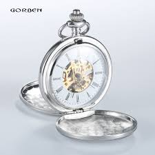 online get cheap open pocket watch aliexpress com alibaba group 2016 new fashion smooth round steampunk silver mechanical pocket watches men luxury fob chain 2 sides