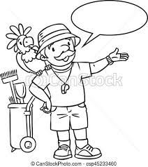 zookeeper coloring page. Contemporary Coloring Coloring Book Of Funny Zoo Keeper With Parrot  Csp45233460 In Zookeeper Page O