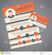 Resume Cv Template With Business Card Stock Vector Image 58394913