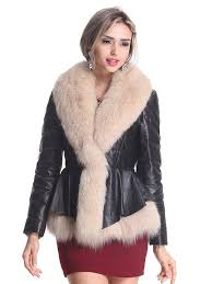 blqy women s sheep leather coat with fox fur trim and shawl collar