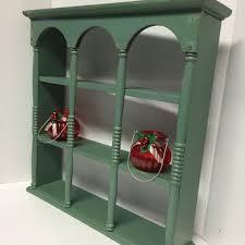 curio shelf vintage teacup shelf wood shelf distressed display shelf plate holder