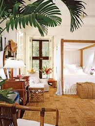 Palm Tree Decor For Bedroom Tropical Style Master Bedroom With Canopy And Wicker Storage And