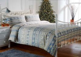 100 brushed cotton flannelette blue nordic printed festive duvet set