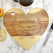 personalised wooden heart chopping board