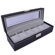 watch box 6 mens black leather display glass top jewelry case image is loading watch box 6 mens black leather display glass