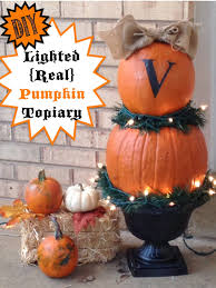 how to make a real lighted pumpkin topiary
