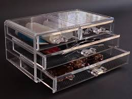 new acrylic 4 drawer jewelry cosmetic organizer chest storage cube gift present in packaging display from