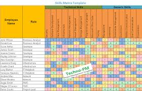 Skill Chart Format Skills Matrix Template Project Management Templates