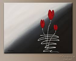 red tulips abstract art painting image by carmen guedez