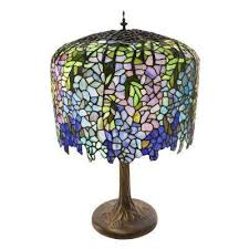 multi colored table lamp with stained glass tiffany inspired grand wisteria shade