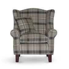 Queen Anne Living Room Furniture Fawn Tartan Fabric Queen Anne Design Wing Back Fireside High Back
