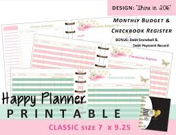 Check Register In Pdf Custom Happy Planner Monthly Budget And Checkbook Register Inserts Etsy