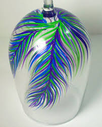 wine glass feathers blues