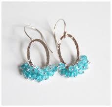 apatite hoop earrings silver chandelier dangle drop earrings wedding accessories bridal jewelry