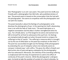 war photographer is an anti war poem gcse english marked by  document image preview