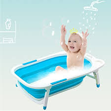 costzon baby folding bathtub infant collapsible portable shower basin with non slip mat blue