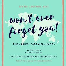 teal map farewell party invitation