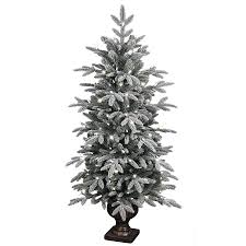 GE 4.5-ft Pre-lit Aspen Fir Flocked Artificial Christmas Tree with 150  Sparkling