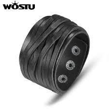 WOSTU <b>Hot Sale Genuine Leather</b> Wrap Vintage Black Bracelet ...
