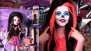 skelita calaveras monster high doll costume makeup tutorial for cosplay or sugar