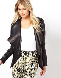 lyst asos oasis waterfall leather jacket in black
