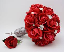 red roses rhinestones bridal bouquet real by songsfromthegarden