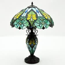 Blue Yellow Double Light Tiffany Lamp