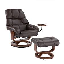 bonded leather swivel recliner with movable side table and ottoman cafe brown up7673rc fs sent