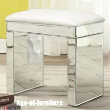 details about mirrored crystal furniture glass dressing table stool white leather room seat