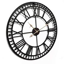 A rustic 36 wrought iron wall clock with applied metal romans numerals is finished in charcoal gray with silver edging, and aged marine blue numerals. Qukueoy 24 Inch Oversize Industrial Metal Wall Clock With Roman Numerals Silent Battery Operated Large Decorative Wall Clocks For Living Room Storepaperoomates Shop Cheapest Online Global Marketplace