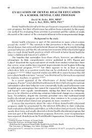 Dental Designs Of White Marsh Pdf Evaluation Of Dental Health Education In A School