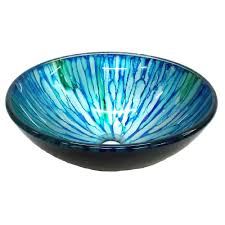 eden bath magnolia glass vessel sink in blue and green