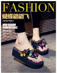Designer Platform Flip Flops 2017 New Designer Platform Sandals Women Brand Butterfly Flip Flops Korean Handmade Butterfly Wedges Shoes Woman Big Size S15 High Heel Shoes